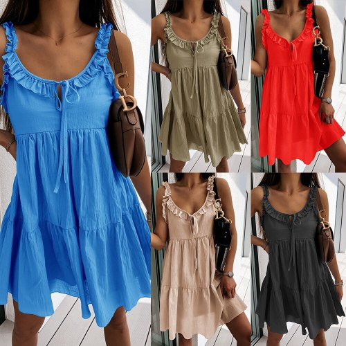 2021 Summer Ruffle Stitching A-Line Pullover Dress Sexy V-Neck Strap Ruffle Dress Casual Loose Sleeveless Mini Dresses For Women