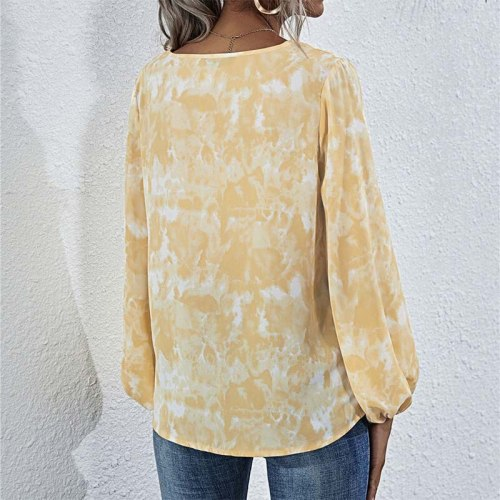 Tie Dye Long Sleeve Blouse Women 2021 Summer V Neck Laced-up Plus Size Shirts Casual Pullover Tops Ladies Elegant Blouses
