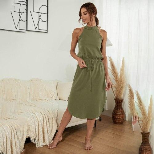 Women cotton knit dress 2021 Summer Neck-mounted Sleeveless Lace up Solid Classic Belt Casual Women Knee-length Dress Soft dress