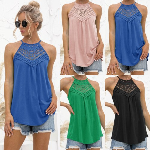 Women's Sexy Off Shoulder Halter Vest Fashion Summer Ladies Casual Loose Sleeveless Solid Color O Neck Lace Patchwork Tops