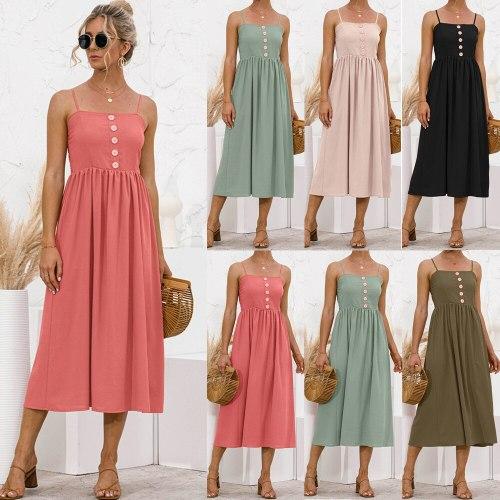 Sexy Women Spaghetti Strap Sleeveless Backless Solid Slim Madi Dress Summer New Casual Sling Big Swing Button Dresses Robe Femme