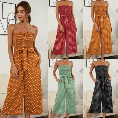 New Fashion Polka Dot Jumpsuits Strapless Chest Wrapping Overalls For Women 2021 Loose Wide Leg Pants Jumpsuit Woman Summer