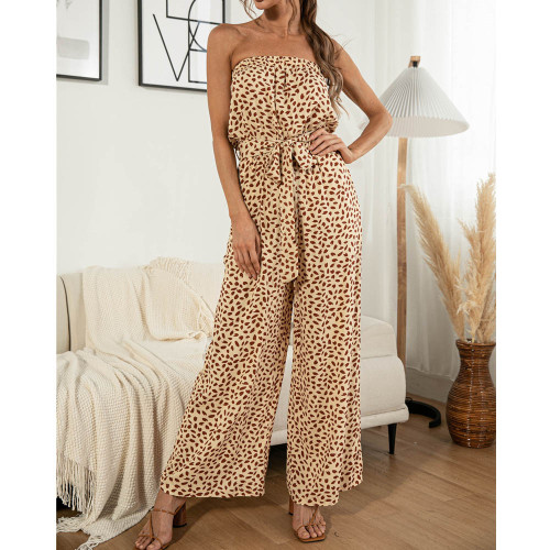 Sexy Heart-shaped Dot Print Lace-up Wide Legs Strapless Jumpsuit Casual Trousers Summer Sleeveless Long Romper 2021 Dropshipping