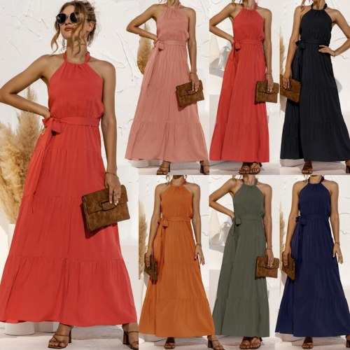 Spring Summer Solid Color Dresses For Women 2021 Elegant Women's Maxi Dress Neck-Mounted Robe Longue With Bandage Party Vestidos