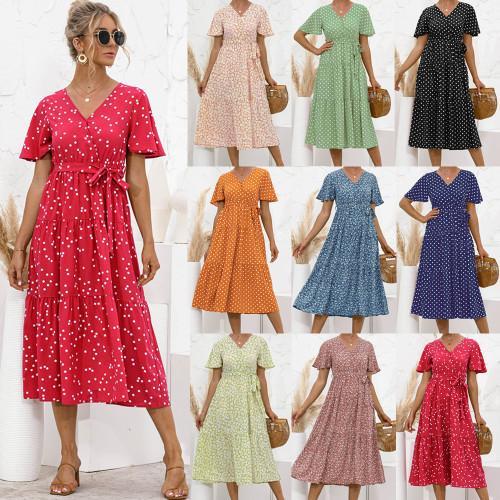 Women cross wave point floral print half sleeve beach Bohemian maxi dress Ladies v-neck Boho sundress vestidos