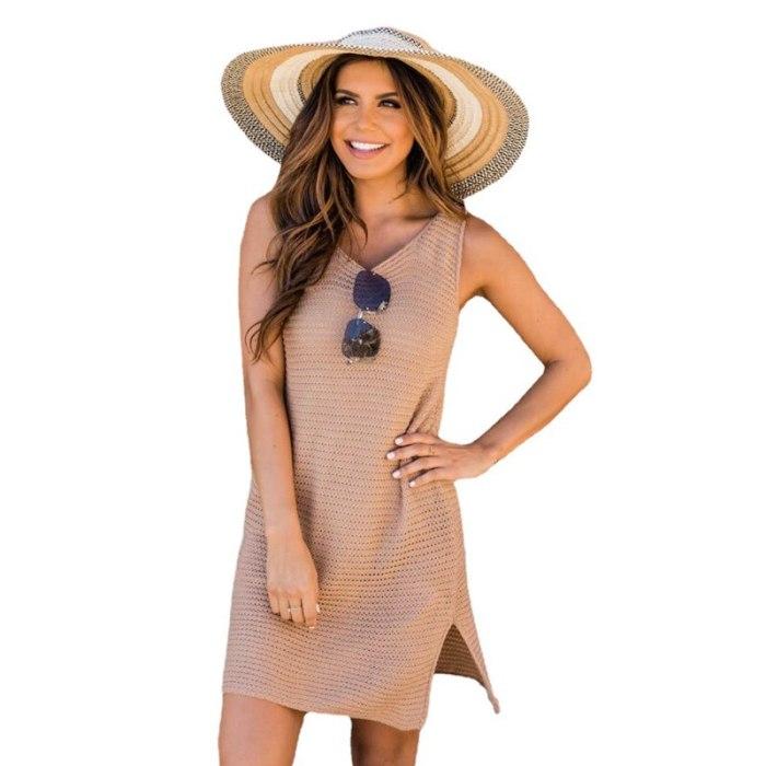 New Bikini Cover up Knitted Tunic for Beach Pareos Dress Crochet top Women Cover ups Kaftan Swimsuit Cover up Sarong Beachwear