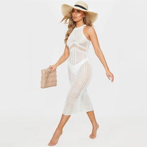 2021 Knitted Bikini Cover Up Sleeveless Maxi Dress Beach Cover Ups See Through Crochet Tunic Kaftan Pareo Beach Sarong