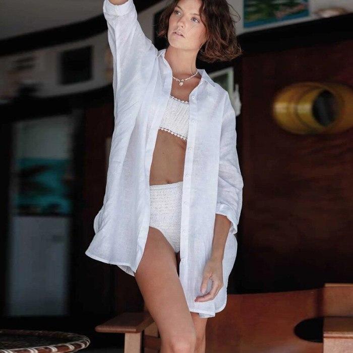 Beach Women Dress Swimwear Knitted Tunic Cover Up New Rayon Shirt Cardigan Bikini Swimsuit Print Polyester Sierra Surfer Summer