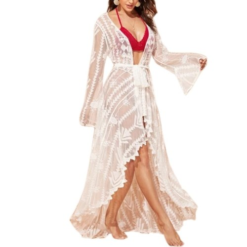 Women Flare Sleeve Cardigan Striped Lace Beach Dress Flowy Swimsuit Cover Up