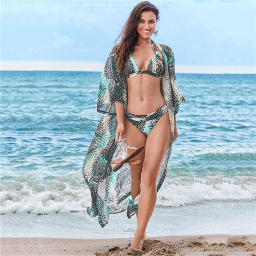 Beach Cover up Tunics for Beach Print Chiffon Long Kimono Bikini Cover up Robe de Plage Sarong Beach Wrap Swimsuit coverup