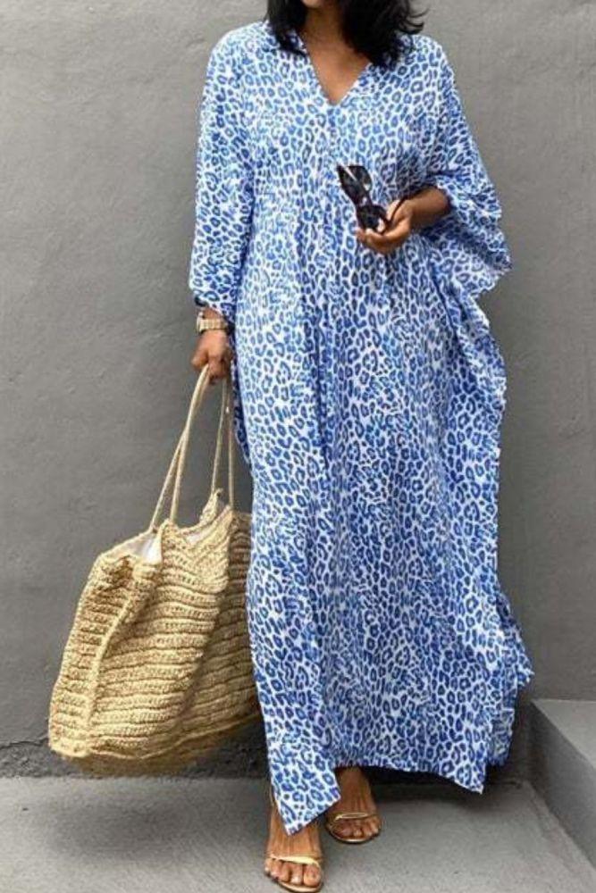 Vacation Look Leopard Blue Kaftan Lounge Wear Stylish Design Water Dye Maxi Dress Airy Breezy Caftan Resortwear Summer Covers Up