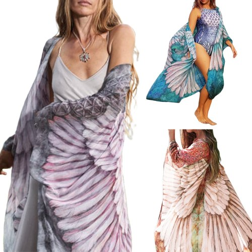 Hirigin Women Summer Beach Cover Up Swimsuit Sun-Proof Cardigan Wing Printed Half Sleeves Open Front Swimsuit Cover for Ladies