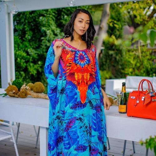 Bohemian Printed Bikini Cover-ups Long Blue Tunic Kaftan Plus Size Women Summer Maxi Dress Beach Wear Swim Suit Cover Up
