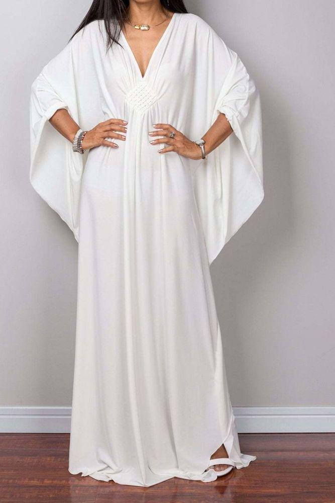 White Bohemian Dress Beach Cover up Crochet V neck Women Maxi Dress Robe Plage Bikini Cover up Pareo Sarong Tunic for Beach