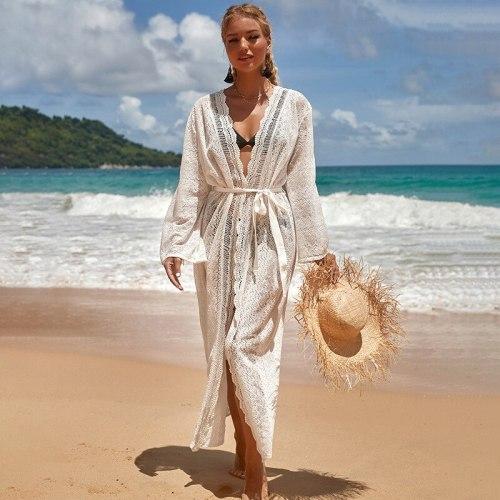 2021 Crochet White Lace Beach Cover Up Dress Tunic Long Maxi Bikinis Cover Ups Swim Cover Up Robe Plage Lacing Up Beachwear