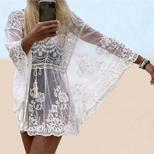 2021 Embroidery Mesh Swimsuit Cover up Tunic See Through Mini Dress Kaftan Pareo Tassel Beach Cover up Beachwear White Dress
