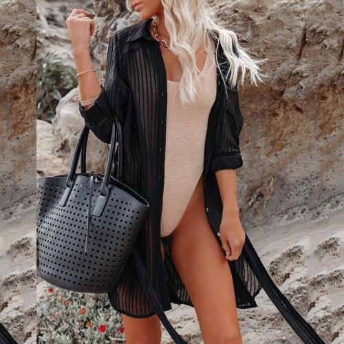 Cover Up Blouse Tops Swimwear Women Loose Chiffon Cardigan Long Sleeve Loose Beachwear Dress Shirt