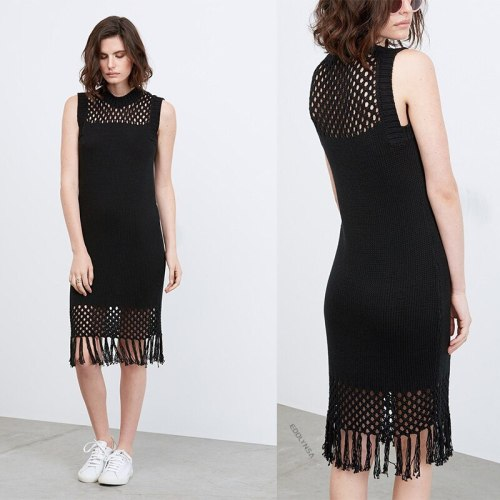 2021 Black Crochet Tunic Sexy Hollow Out O-neck Sleeveless Fringed Women Summer Midi Dress Beach Wear Swim Suit Cover Up