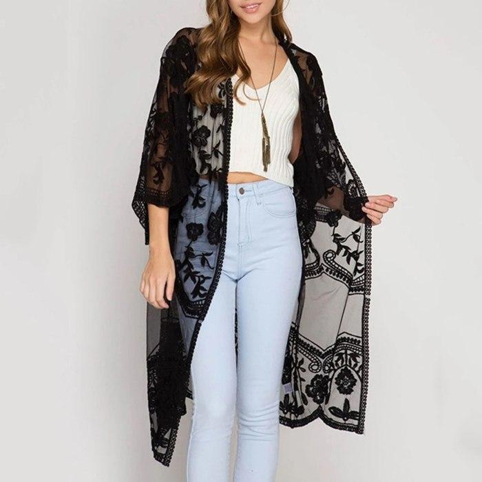 Womens Bikini Summer Beach Solid Blouses Kimono Cardigan Lace Sheer Cover Up Long Shirts Female Fashion Sundress Cardigan