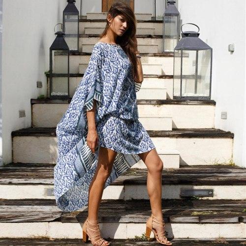 Europe Long Dress Women Summer New 2021 Fashion Beach Dress Female Pluz Sized Casual Women Clothing Sunscreen