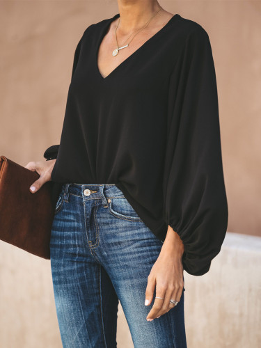 Summer Women's Leisure Solid Color V-Neck Vantern Sleeve Baggy T-Shirt Tops 2021 Fashion Ladies Lantern Sleeve T-Shirt