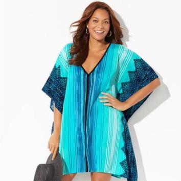 Plus size Swim suit Cover up Tunic for Beach Sarong Beachwear Print Beach Cover up Women Casual Loose Dress Pareo Kaftan Dress