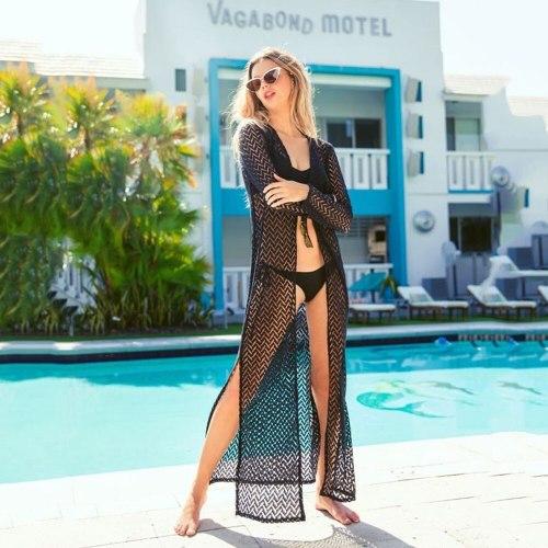 Women Summer Sexy Hollow Fashion Lace Black Cardigan Cover Bikini Woman Beach Vacation Robe Skirt 2021 Summer Swimwear Beachwear