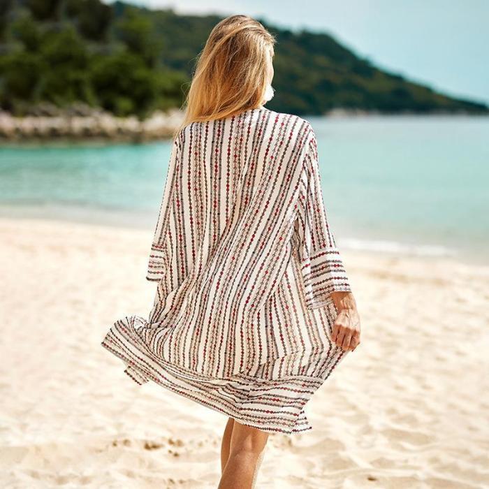 Chiffon Kaftan Beach Tunic Beach Cover Up Saida De Praia Swimsuit Women Bikini Cover Up Pareo Sarong Beachwear