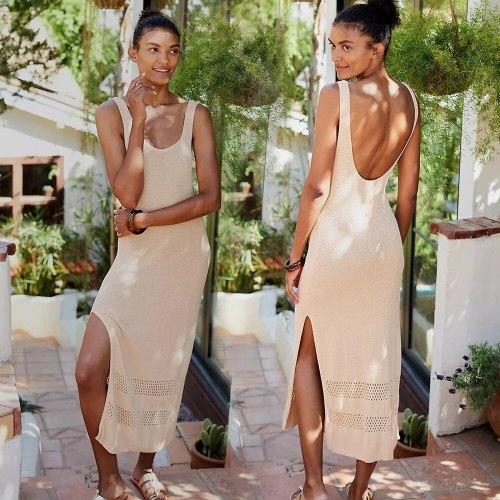 Beachwear Sexy Bikini Cover Up Beach Dress Knit Hollow V Neck Halter Vacation Leisure Long Dresses  Women Swimsuits Tunic Kaftan