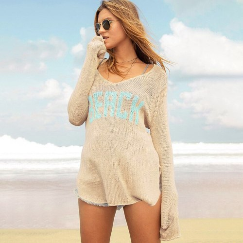 Bathing Suit Cover Up Bikini Robe Women New Knitted Long Sleeve Sexy Smock Beach Swimsuit Print Polyester Sierra Surfer Dress