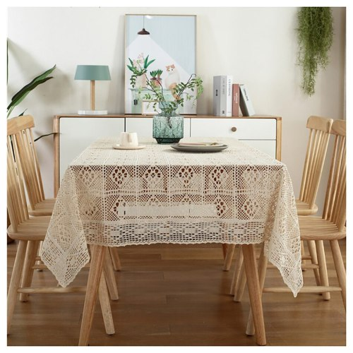 Crochet Hollow Tablecloth Home Decorative Rectangle Fabric Lace Beige Bedroom Coffee Table for Living Room