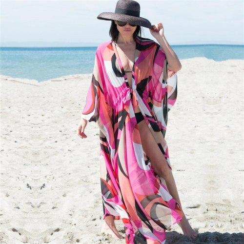 Beach Cover up Tunics for Beach Print Chiffon Long Kaftan Bikini Cover up Robe de Plage Sarong Beach Wrap Swimsuit coverup