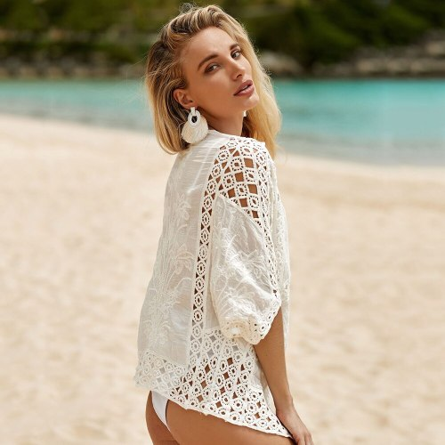 Cotton Embroidered Short Cardigan 2021 Sexy Hollow Out Beach Cover Up Women Bikini Cover Up Seaside Vacation Beach Jacket Ladies