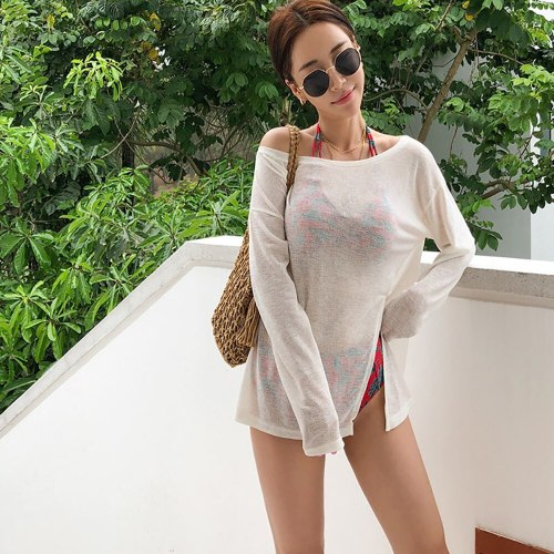 2021 New Knitted See Through Bikini Cover Up Pareo Beach Dress Holiday Outing Sexy Swimsuit Sarongs White Summer Women Clothes