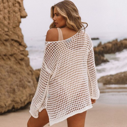 2021 Sexy Crochet Knitted Beach Cover Up Women Bikini Cover Up Long Sleeve Beach Blouse Hollow Out Shirt Lady Summer Beachwear