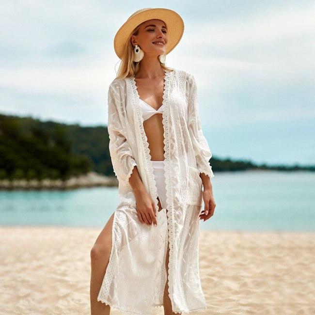 Embroidery White Beach Cover Ups Femme Sexy Cardigans Bikini Swimsuit Holiday Shawl Sunscreen Shirt Dress Ropa De Playa Mujer
