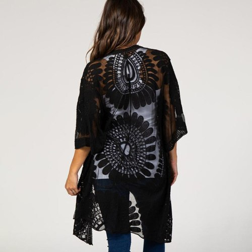 2021 New Sunflower Embroidery Beach Resort House Mid Sleeve Cardigan Hundred Sun Protection Sexy Lace Shawl Beach Cover Up