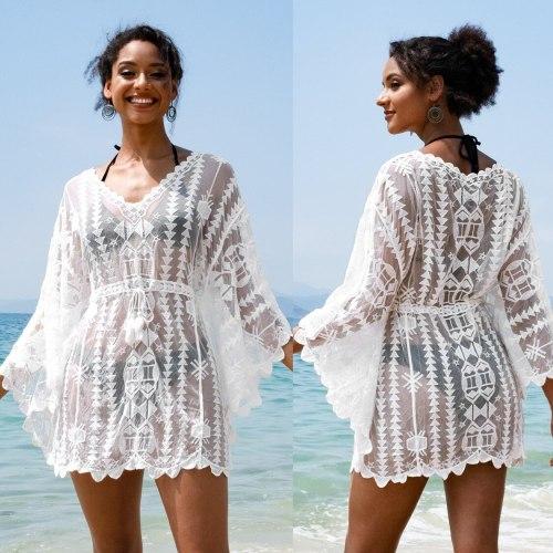 2021 Sexy See Through Bikini Cover-ups White Lace Tunic Women Summer Beach Wear Swim Suit Cover Up Transparent Mini Dress