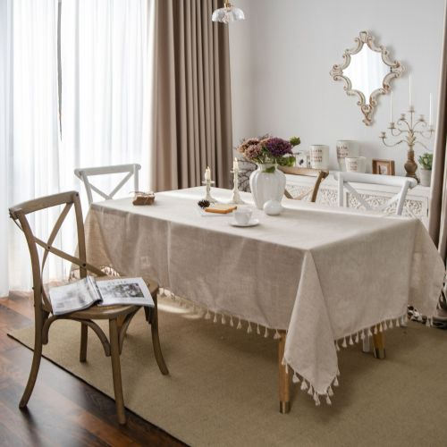 Cotton and Linen Tablecloth Retro Table Cover for Table Nappe De Table Tassel Rectangle Cloth