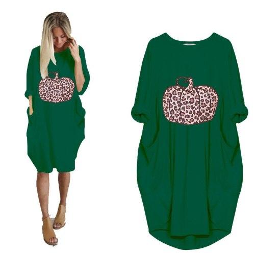 Women's casual loose pocket long sleeve oversized Halloween Pumpkin print dress Fashion T-Shirt Top Punk  Large Size 5XL Dresses