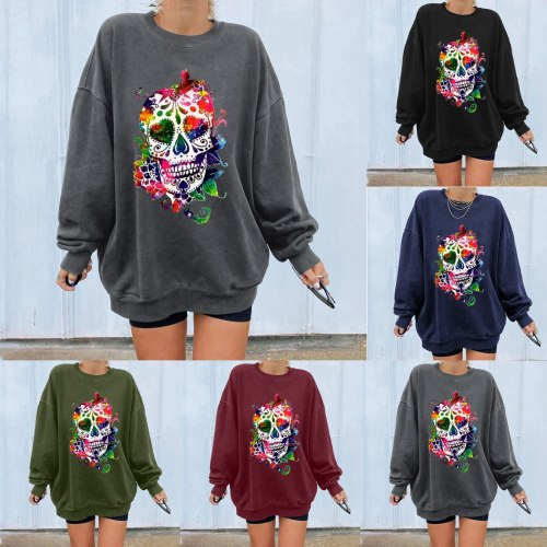 2021 Autumn casaul loose women's t-shirt round neck long sleeve skull and flower print Halloween tees Skeleton tshirts tops