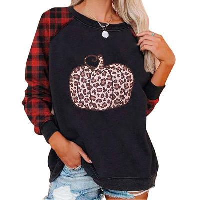 Long T-shirts Woman Skulls Flower Print Casual O-neck Oversized T-shirt Halloween Long Sleeve T-shirt New Top