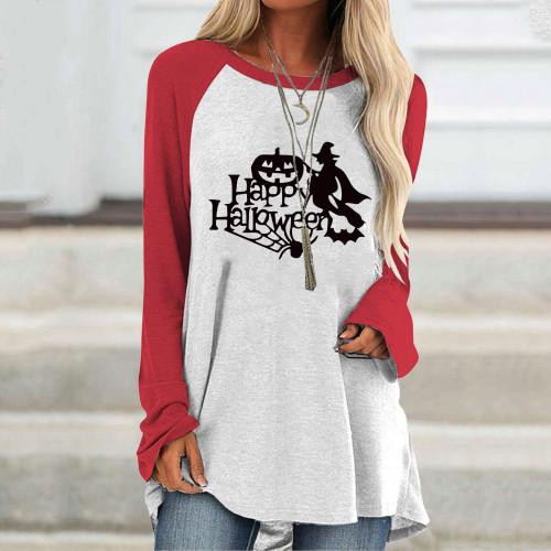 Ladies Street Top T-shirt Halloween Women Casual Raglan Long Sleeve Butterfly Print Shirt Pullover Top