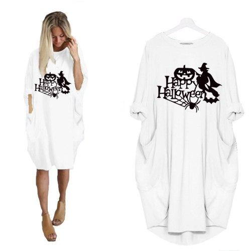 2021 Autumn Midi Dresses For Women Happy Halloween Pumpkin Skull Print O Neck Long Sleeve Pocket Dress Femme Robes 5XL Vestidos
