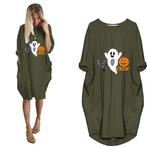 Women's casual loose pocket long sleeve Halloween Dress Pumpkin printing Top Punk Large Size 5XL Dresses