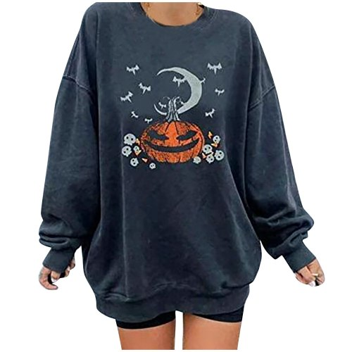 Halloween Pumpkin Printed Hoodies Women's Casual Long Sleeve Ladies Sweatshirt Autumn Winter Pullover Elegant Long Tops