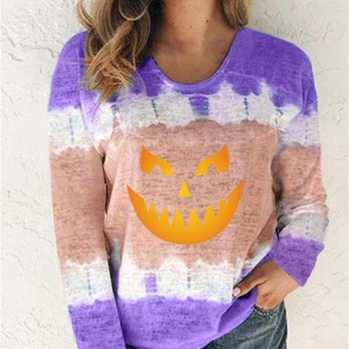 Women Halloween Tops Color Block Tie-Dye Patchwork Crew-Neck T-Shirt Casual Tee plus sizeS-5XLStreetwear Aesthetic T Shirt Outfits