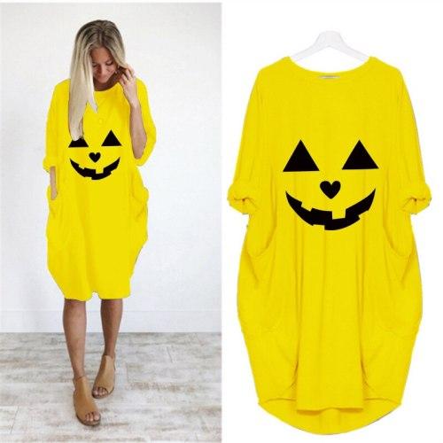 Casual Loose pocket Long Sleeve Oversized Halloween Print Dress Top Punk  Large Size 5XL Dresses