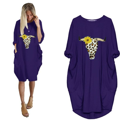 Women's casual loose pocket long sleeve Halloween Dress Top Punk  Large Size 5XL Dresses Fashion T-Shirt for Women