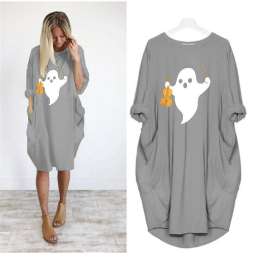 Autumn Winter HALLOWEEN PRINT Loose Pocket Dress Fashion T-Shirt For Women Top Punk  Large Size 5XL Dresses